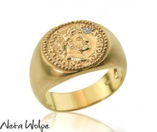 טבעת חותם הרקולס משובצת יהלום