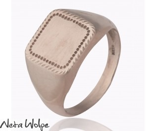 Square Shape Rose Gold Signet Ring
