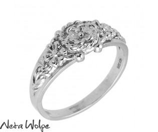 טבעת נישואין פרחונית בסגנון וינטג'