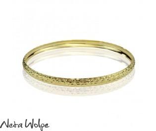 14k Gold Engraved Moroccan Bangle Bracelet