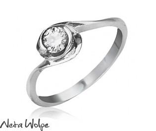 טבעת אירוסין ספירלית משובצת יהלום
