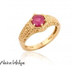 טבעת זהב משובצת רובי