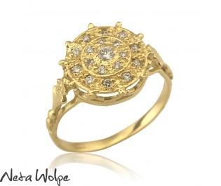 טבעת וינטאג' משובצת יהלומים