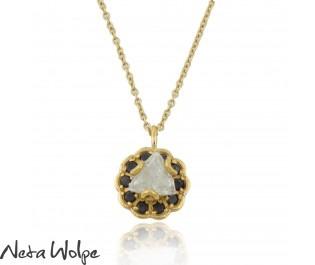 שרשרת זהב עם תליון יהלום גולמי מחוספס
