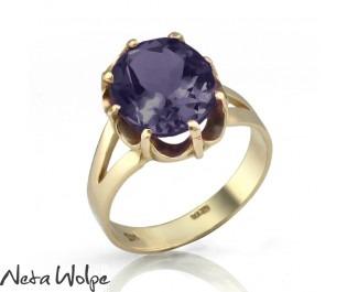 טבעת זהב משובצת אמטיסט