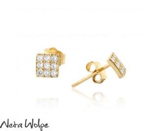 עגילים מרובעים משובצים יהלומים