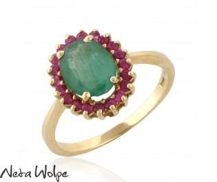 טבעת אירוסין דיאנה משובצת באמרלד ורובי