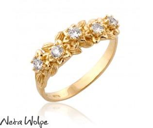 טבעת פרחונית משובצת יהלומים