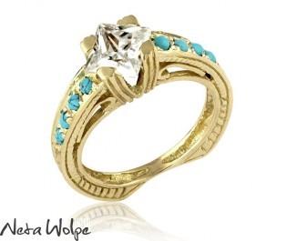 טבעת ויקטוראינית משובצת יהלום ואבני טורקיז