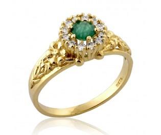 טבעת וינטאג' פרחונית משובצת אמרלד ויהלומים