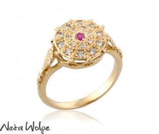 טבעת רובי ויהלומים מהודרת בסגנון האר נובו