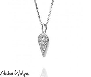 שרשרת זהב עם תליון טיפה משובץ יהלום