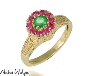 טבעת פרחונית משובצת אמרלד ורובי