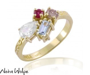 טבעת אבסטרקטית אבני חן