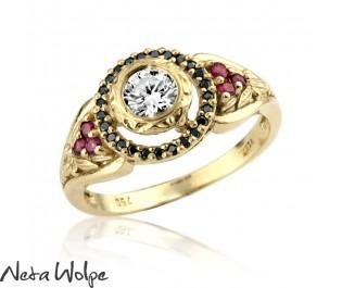 טבעת אירוסין מלכותית משובצת יהלומים