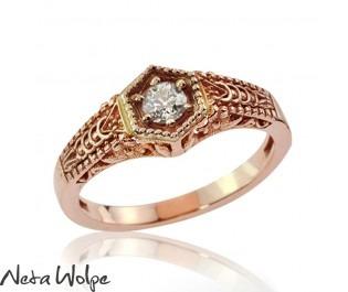 טבעת משובצת יהלום בסגנון ויקטוריאני