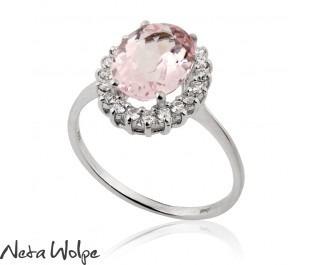 טבעת אירוסין דיאנה משובצת אבן מורגנייט ויהלומים