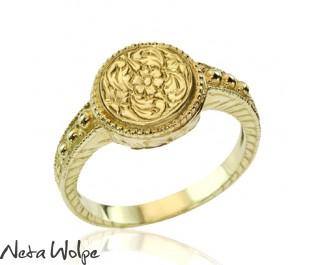 טבעת חותם מזהב צהוב