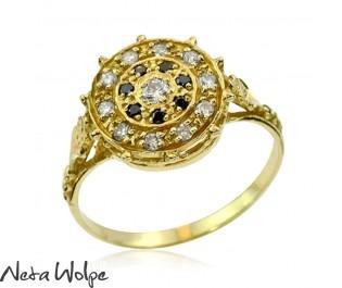 טבעת וינטאג' משובצת מגוון יהלומים