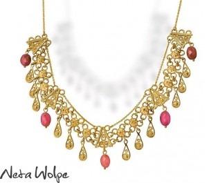 שרשרת זהב עם אבני טורמלין