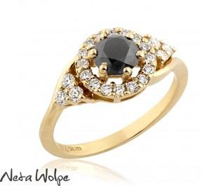 טבעת יהלום שחור נוצצת
