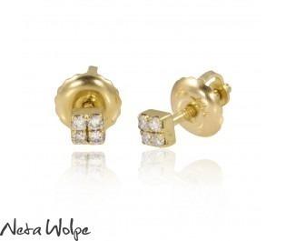 Petite Diamond Square Yellow Gold Stud Earrings