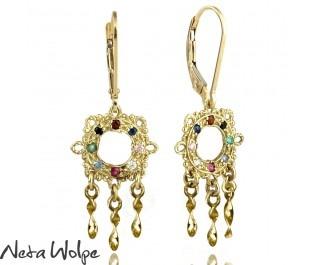 עגילי זהב בעיצוב פיליגרן משובצים במגוון אבני חן