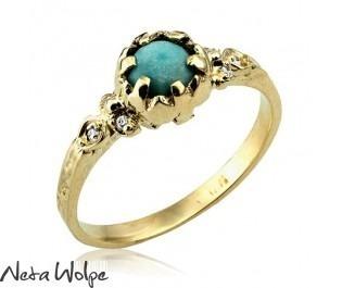 טבעת אירוסין יהלומים וטורקיז