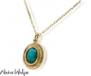 שרשרת זהב משובצת אבן טורקיז