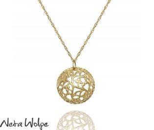 שרשרת זהב תליון בסגנון וינטאג' מעוטר בפרחים