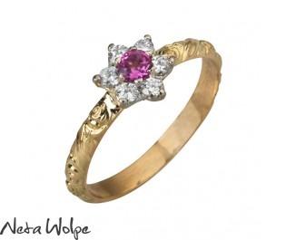 טבעת אירוסין פרח משובצת טורמלין ויהלומים