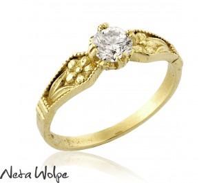 טבעת אירוסין יוקרתית בסגנון וינטג' רוסי משובצת יהלום