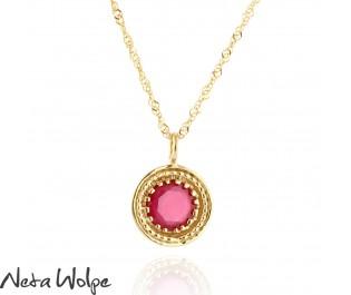 שרשרת זהב משובצת באבן רובי