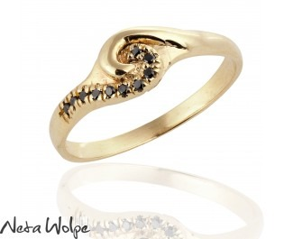 Black Diamond Golden Swirl Ring