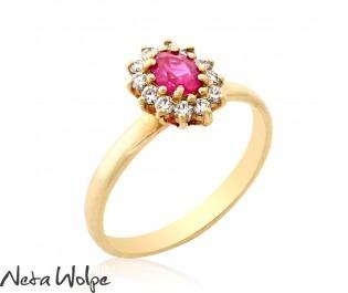 טבעת אירוסין דיאנה משובצת רובי ויהלומים