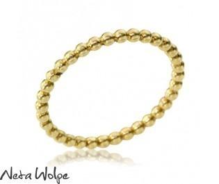 טבעת חרוזים זהב צהוב 14 קראט