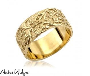 טבעת נישואין וינטאג' רחבה