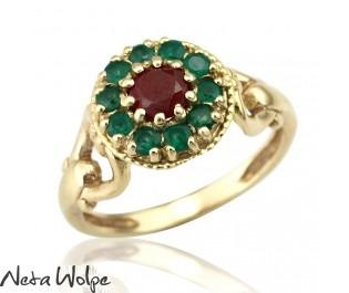טבעת פרחונית משובצת באבני אמרלד ורובי