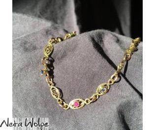 צמיד אביטל זהב צהוב בסגנון אוריינטלי עם אבני חן