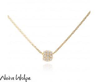 שרשרת זהב עם תליון מעגלי משובץ יהלומים