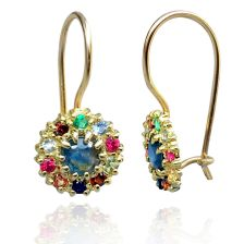 Yellow Gold Colorful Stone Earrings