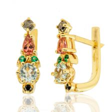 Yellow Gold Antique Style Ruby Earrings