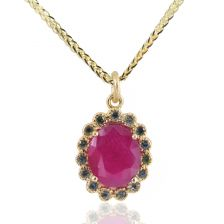 Victorian Style Ruby Halo Pendant