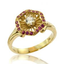 Antique Style Diamond and Ruby Engagement Ring