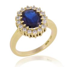 Victorian Style Sapphire Yellow Gold Halo Ring