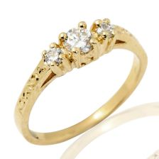 Unique Trio Engagement Ring in Yellow Gold
