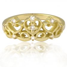 Yellow Gold Crown Ring with Diamonds