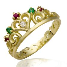Victorian style yellow gold crown ring