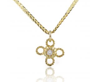 Delicate Flower Gold Necklace with Embedded Diamond