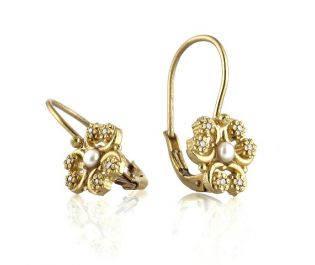 Flower Shaped  Pearls and Diamonds  Earrings in Yellow Gold